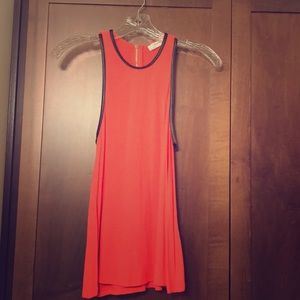 Zara Neon orange and black faux leather trim tank